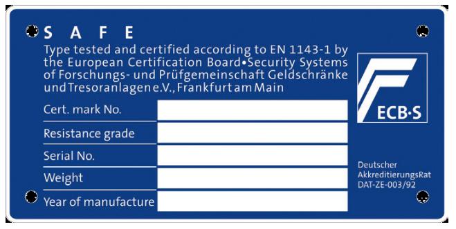 Exempel på certifieringsplakett för värdeskåp